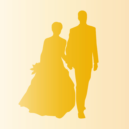 wedding couple: bruiloft paar silhouet Stock Illustratie