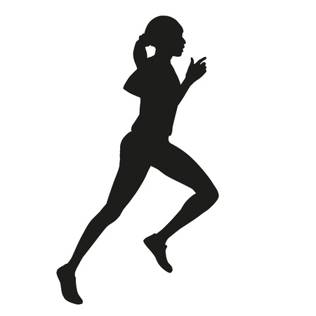 woman side view: Running woman silhouette Illustration