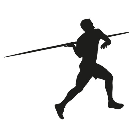 Javelin throw. Athlete silhouette Vector