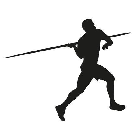 lanzamiento de jabalina: Lanzamiento de jabalina. Silueta de la atleta