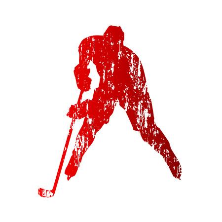 Hockey player. Grunge Vector