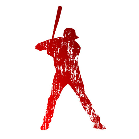 Grungy baseball player Vector