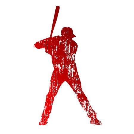 Grungy baseball player Illustration