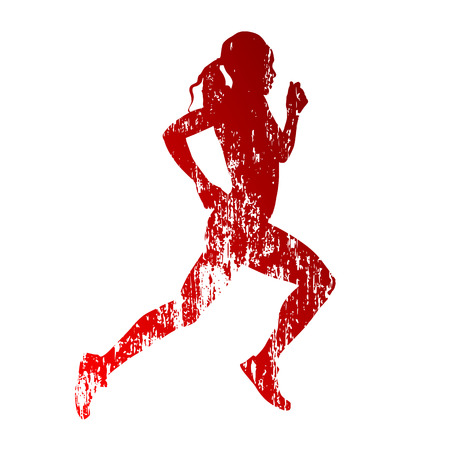 dirty girl: Abstract grungy running woman silhouette
