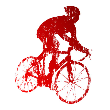 road cycling: Abstract red road biker