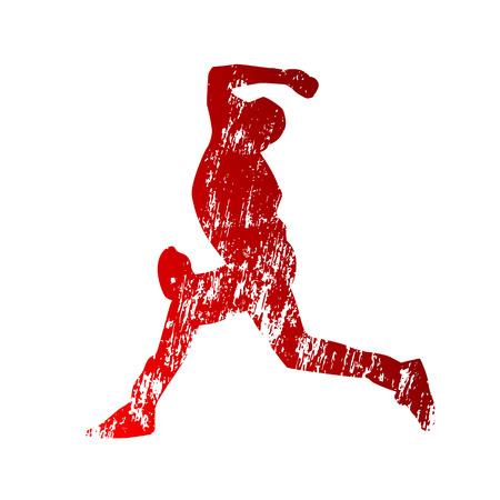 Grunge honkbal silhouet Stock Illustratie