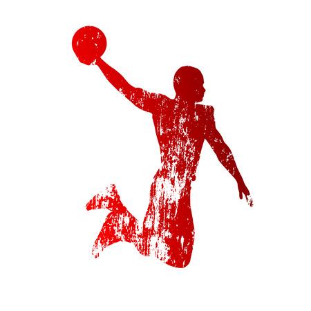 basketball dunk: Grungy basketball player