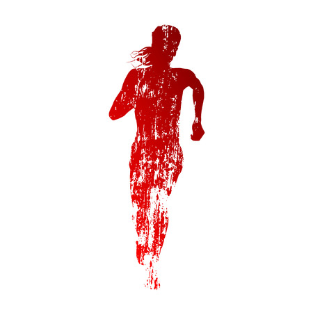 Abstract red running woman silhouette Vector