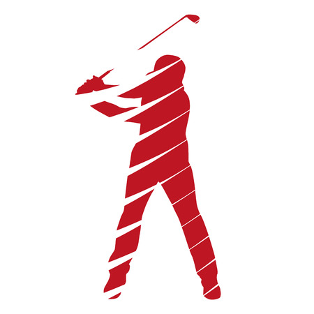 Abstract red vector golf player Vector