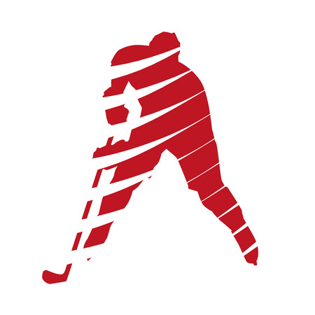 playoff: Abstract red hockey player Illustration