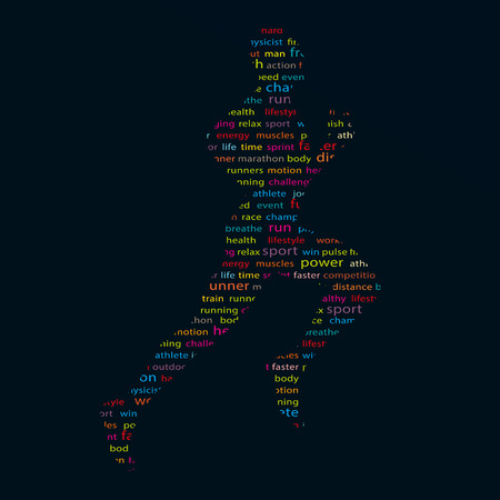 runing: Abstract collage of runner silhouette Illustration