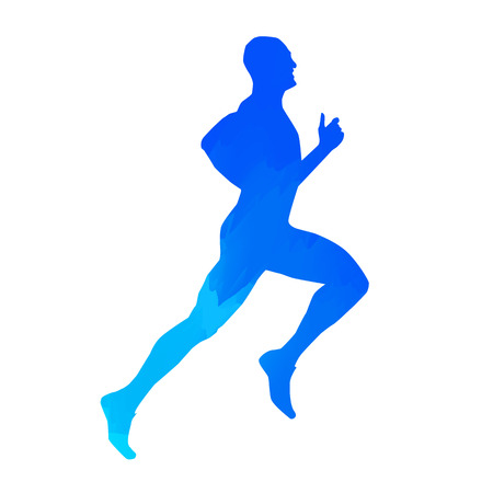 woman run: Run. Vector man silhouette Illustration