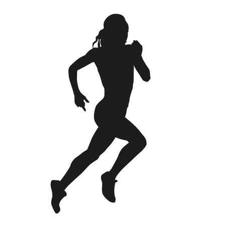 decathlon: Running woman silhouette Illustration