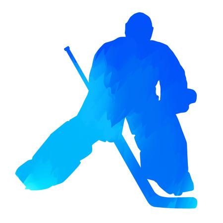 arquero: Portero de hockey azul abstracto
