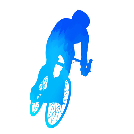cyclist silhouette: Abstract blue cyclist