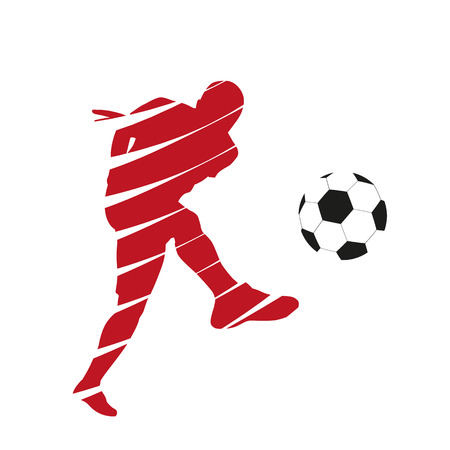 football kick: Red vector football player Illustration