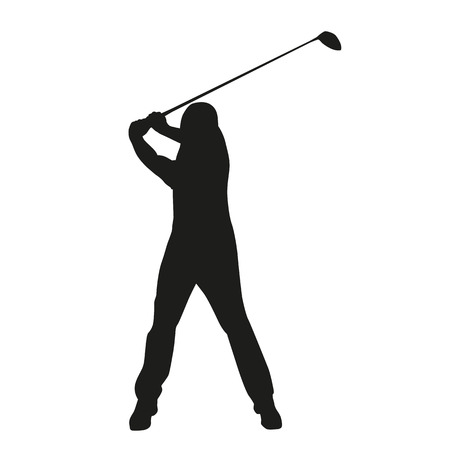 Golf swing. Vector golfer silhouette