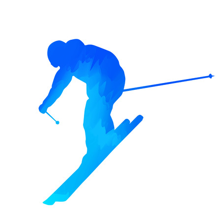 downhill: Abstract blue downhill skier Illustration