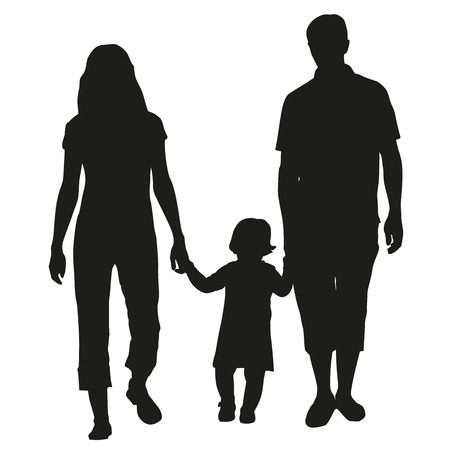 Family vector silhouette Stock fotó - 37531530