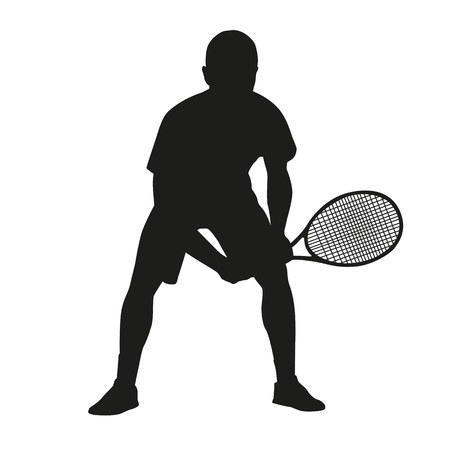 Tennis player, vector isolated silhouette