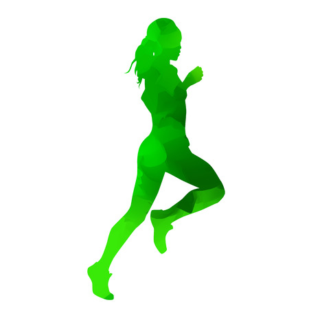 long distance: Abstract green running girl
