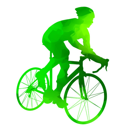 green road: Abstract grungy green road cyclist Illustration