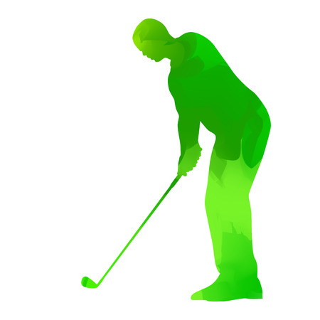 golf player: Abstract green golf player