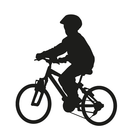 Youn boy on bike. Vector silhouette 일러스트