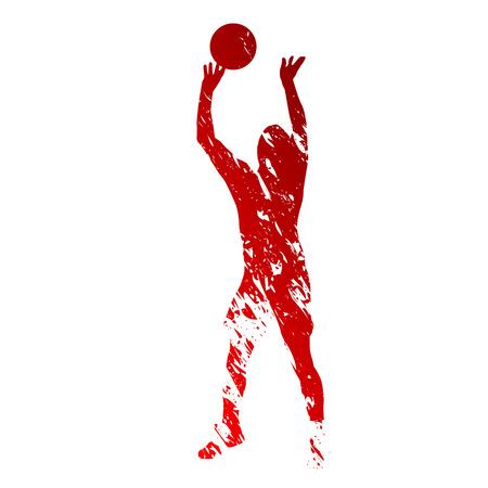 赤い汚れたバレーボール選手