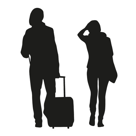 travelers: Silhouette of couple travelers
