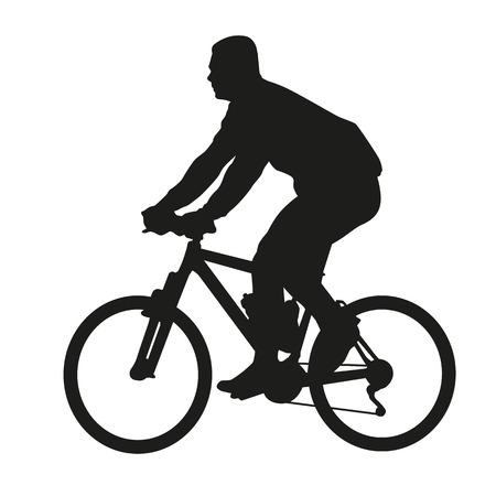 bike vector: Ciclista en bicicleta de monta�a. Vector silueta