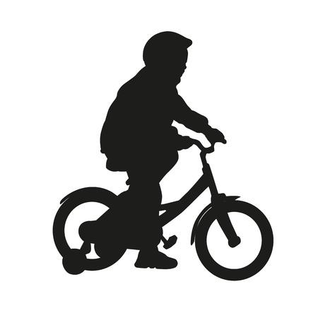 bike vector: Ni�a en la bici. Vector aislado silueta