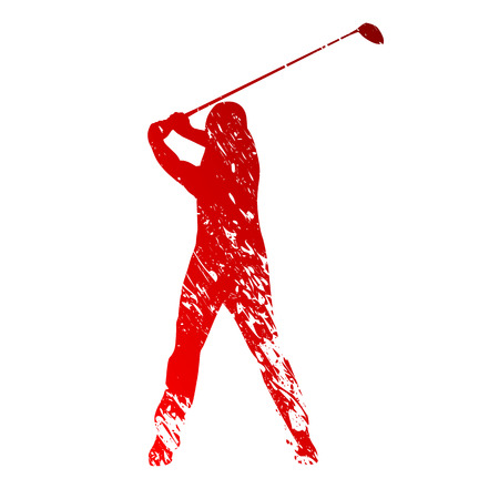 grungy: Red grungy golf player