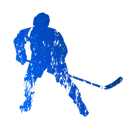 Blue grungy hockey player Vector