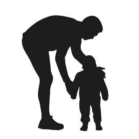 kid vector: Padre e hijo. Vector silueta