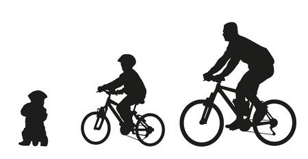 父と自転車で子供。ベクター シルエット  イラスト・ベクター素材