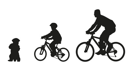 Father and kids on bike. Vector silhouette Vector