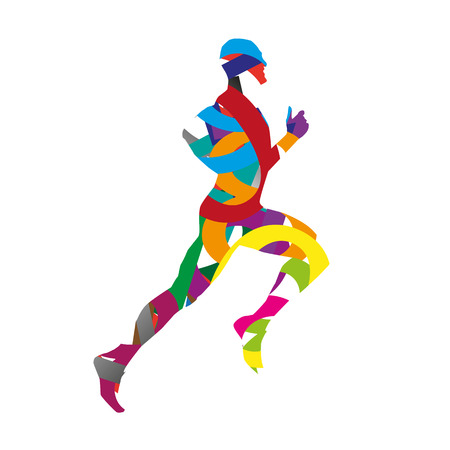 marathon: Abstract vector runner silhouette. Red, blue, yellow, purple, green, brown, orange, gray, turquoise