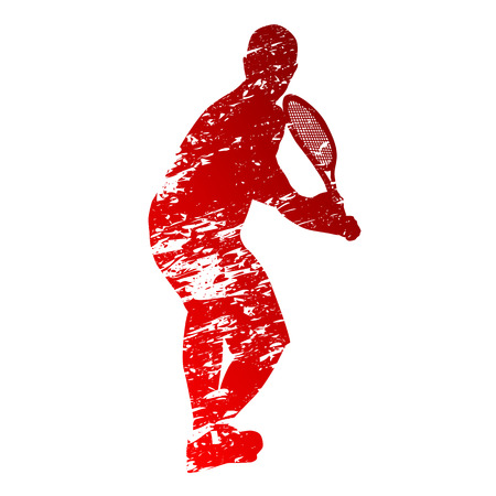 Red grungy tennis player Vector