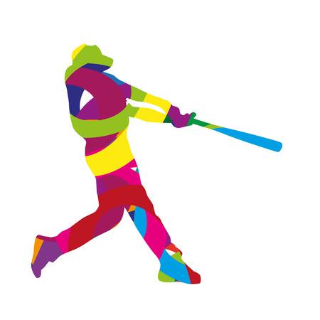 hitter: Abstract colorful baseball batter