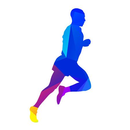 decathlon: Marathon runner. Vector silhouette Illustration