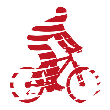 Abstract red cyclist Vector