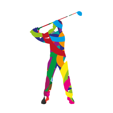 golf field: Abstract colorfull golf player