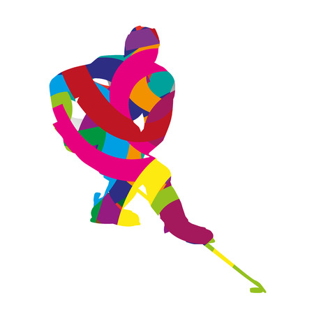 ice hockey player: Abstract colorful ice hockey player