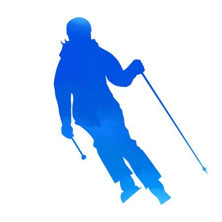 tirol: Bright blue woman skier
