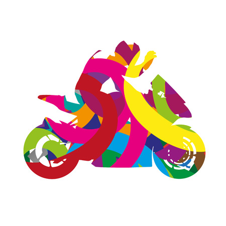 motorcycle rider: Abstract colorful motorcycle rider