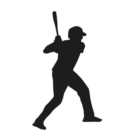 Baseball player vector silhouette Çizim