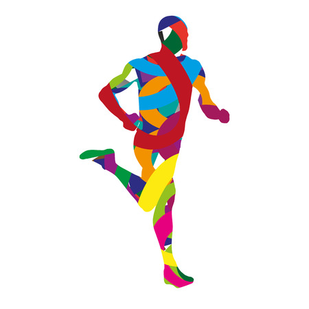 Abstract colorful man running