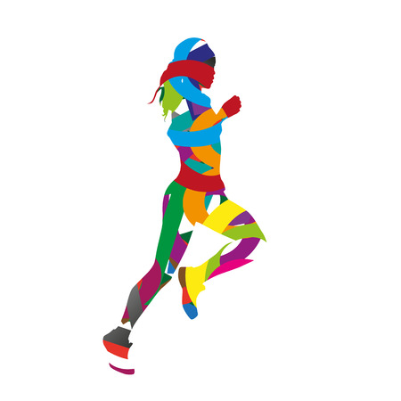 Abstract colorful running girl 일러스트