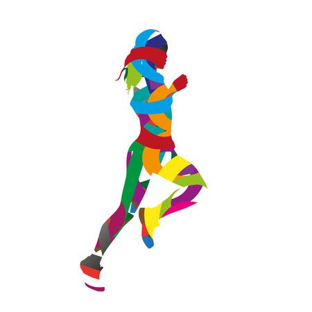 girl sport: Abstract colorful corsa ragazza